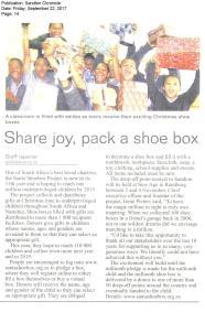 Sandton Chronicle_22-09-17_Santa Shoebox Project