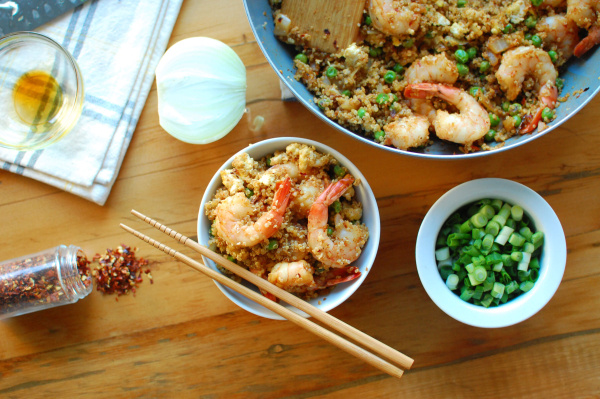 "Healthy Spicy Shrimp Fried ""Rice"" (High Protein and Gluten-Free!)"