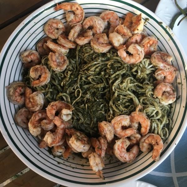 Shrimp with Pesto Pasta