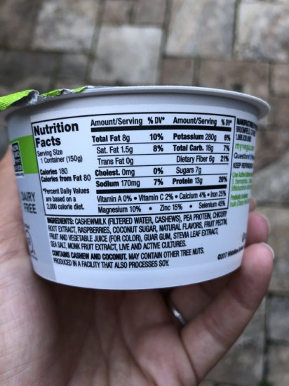 vega yogurt nutrition information