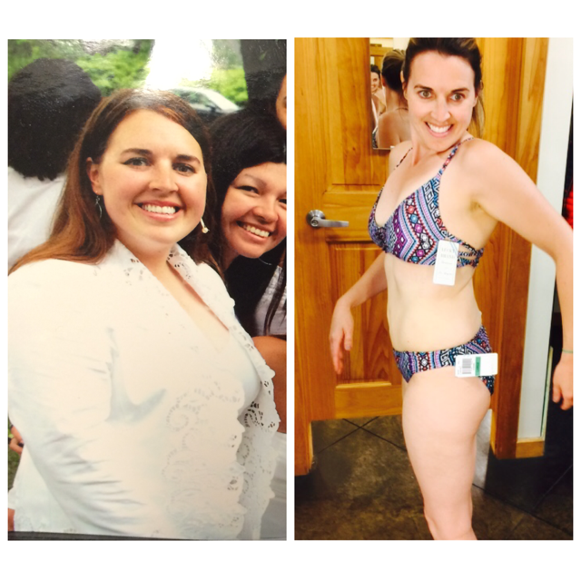On the left was my college graduation pix from Mount Holyoke. I refused to step on the scale but I was probably around 190lbs. Me on the right today in my bikini around 134.