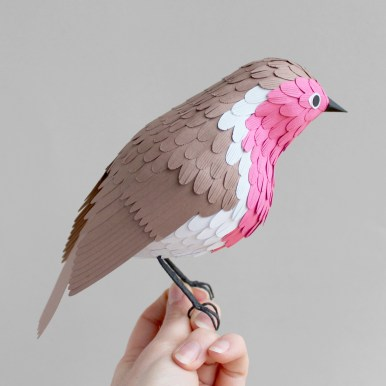 3D Pink Paper Robin