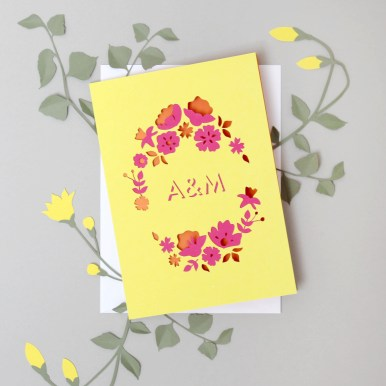 Colourful Papercut Floral Card Personalised with Initials