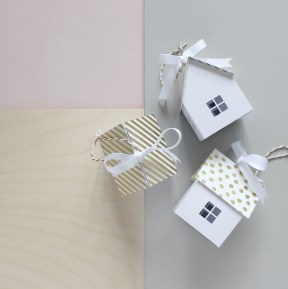 3D Paper Engineered Gold Foiled House Gift Boxes