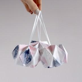 Printed Brushstroke Pattern Origami Ball Christmas Decorations