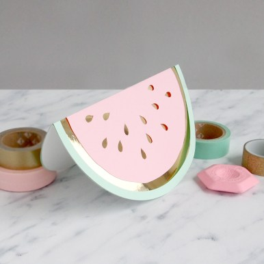 Layered Papercut Pastel Watermelon Slice Card