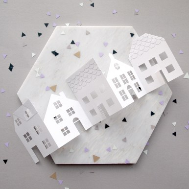 Paper cut Concertina Houses New Home Card