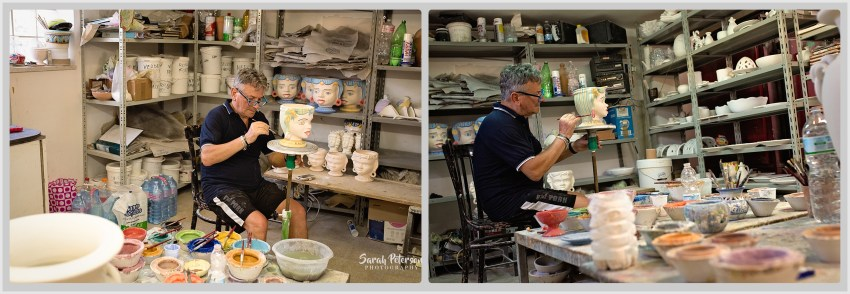 Artist hand painting a vase at Ceramica De Rosa Giulia