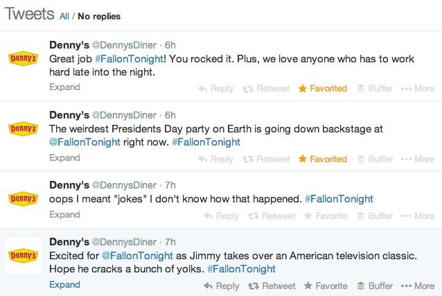 Denny's #FallonTonight Tweets