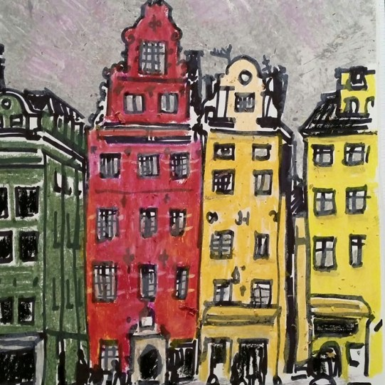 Colourful buildings by Cathedral in Stockholm