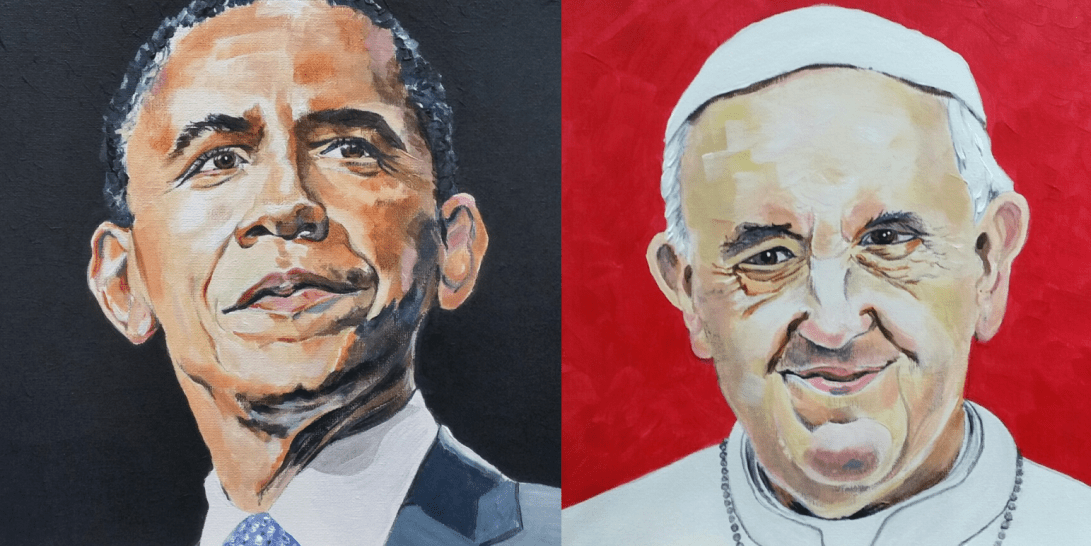 Portrait of Barack Obabma and Pope Francis by Caversham Commissioning Artist Sarah Seymour