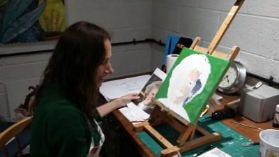 Sarah Seymour demonstrating portrait painting at the Caversham Arts Trail