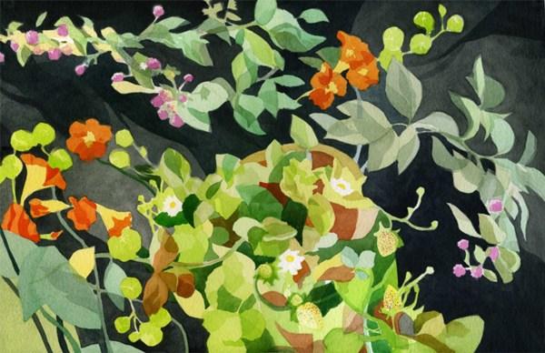 Sara Kahn Analytic Transparent Watercolors Alameda Community Garden
