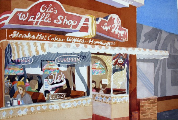 Ole's Waffle Shop, Alameda, California, August 2014, Analytic Transparent Watercolors by Sara Kahn
