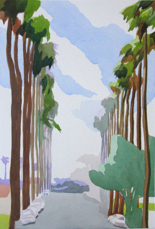 Tree-lined Street, Alameda, California. July 2014, Analytic Transparent Watercolor by Sara Kahn. Third place award from the San Diego Museum of Art Artists Guild. Juried Plein air Show 2014