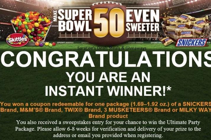 Snickers IWG winning screen shot