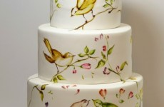 Painted Bird Cake For Wedding celebration
