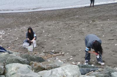 工作コーナーの貝殻を稚咲内の海岸に拾いに行っています