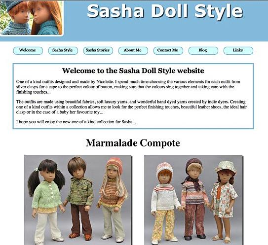 Old Sasha Doll Style Website