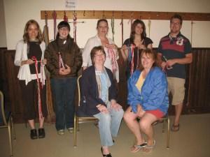 students and their diagonal stripe leg ties