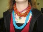 Fingerknitting as necklace