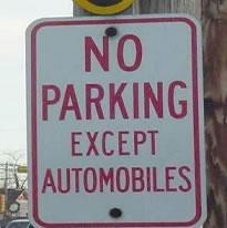 funny parking road sign