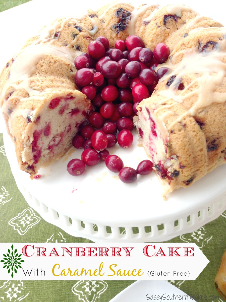 Cranberry Cake Drizzled with Caramel Sauce {Gluten Free}