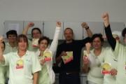 Beschäftigte der WISAG Krankenhausreinigung im Krankenhaus Robert Bosch in Stuttgart stehen hinter den Forderung der IG BAU