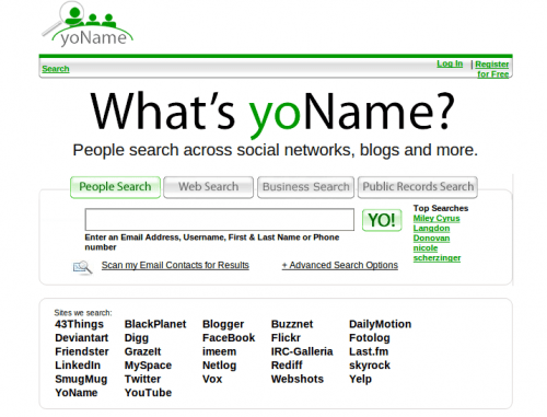 yoname e1281687788818 11 Most Popular Search Engines For Social Networks