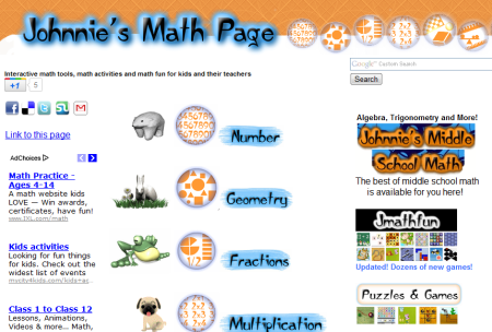 Johnnies Math Page Fun math for kids and their teachers 450x304 25 Great Websites For Learning Maths