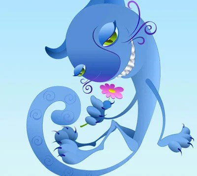 blue cat 80 Excellent Adobe Illustrator Cartoon Tutorials