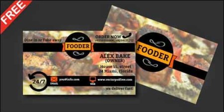 Restaurants and Bakery Free PSD Business Card Template