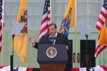 President Christie at the podium