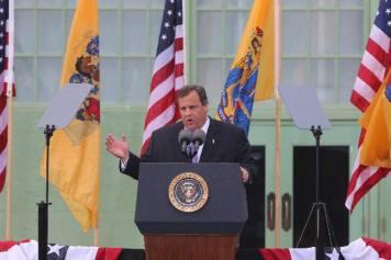 President Christie at the podium