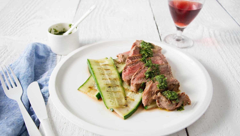 Rumsteak grillé, salsa verde