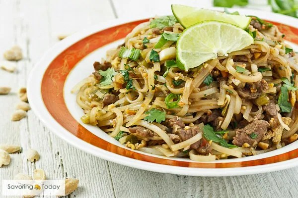 You can make great Pad Thai at home! This recipe uses beef but easily substitute whatever protein you prefer.