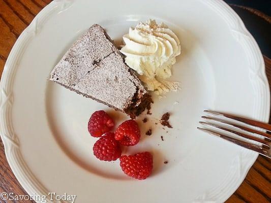 Flourless Chocolate Cake with Raspberries and Whipped Cream