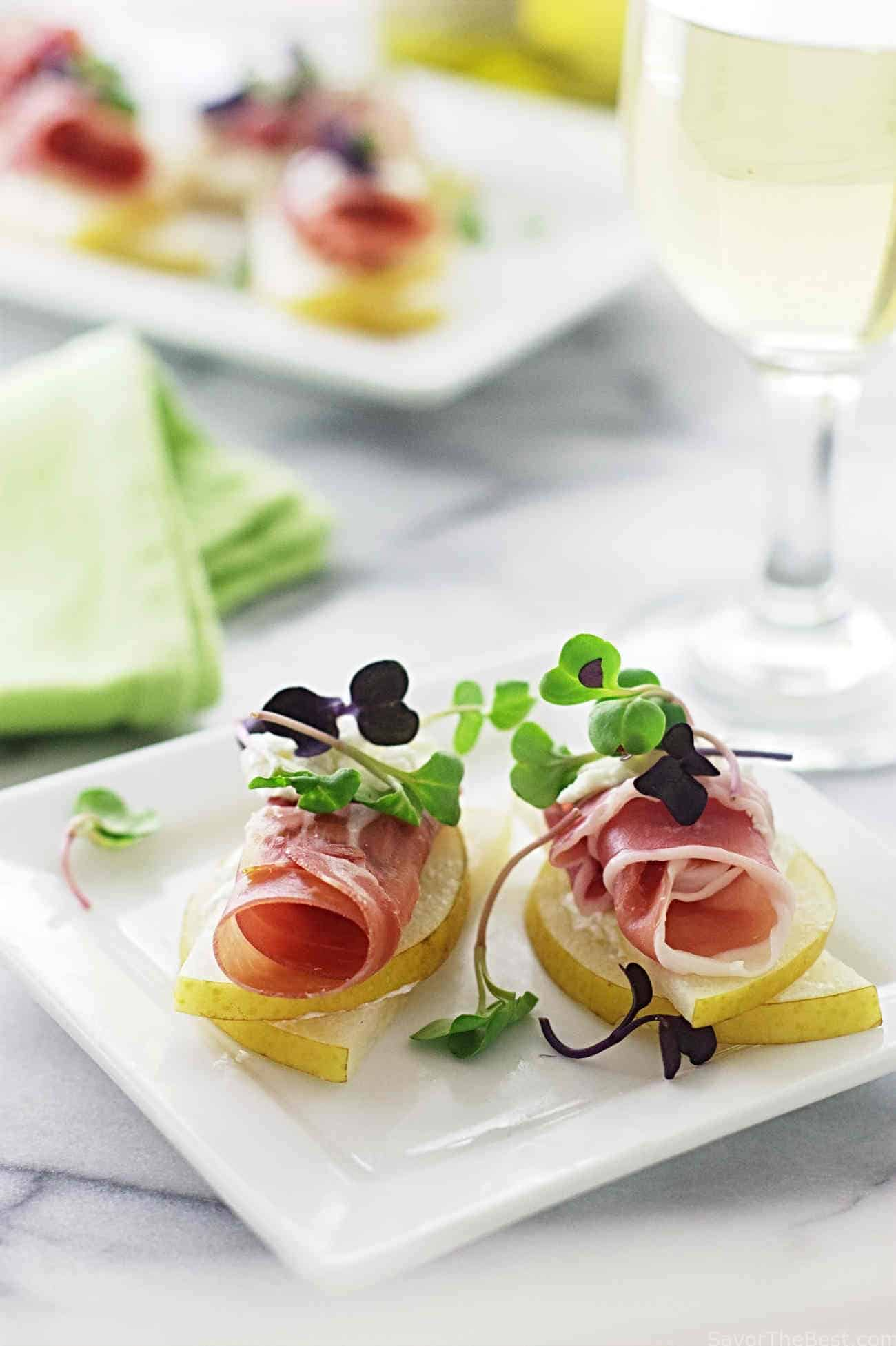 Asian pear prosciutto appetizers savor the best for Asian canape ideas