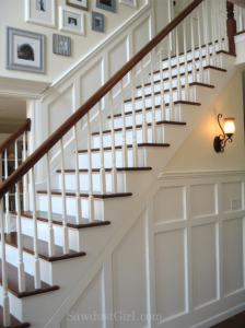 entry stairs with wainscoting