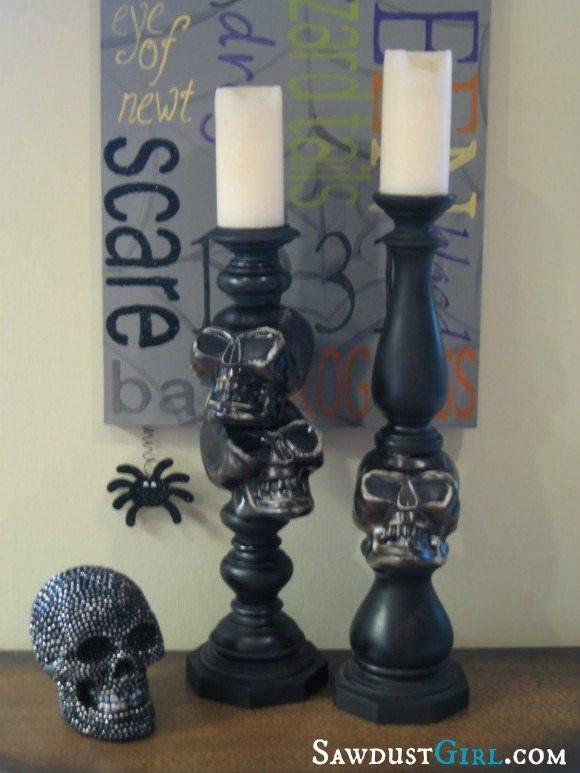 $5 spooky skull candlesticks