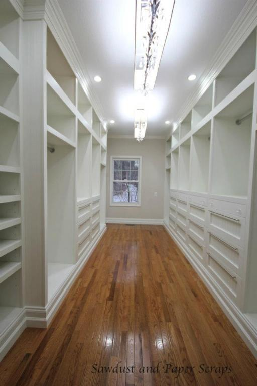 white built-in master closet