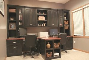 DIY Office with T-shaped countertop and Built-in cabinets