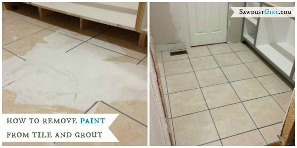 Romove paint from tile and grout -before-after