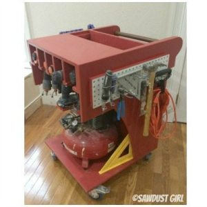 Air Compressor and Tool Storage Rolling Work Cart