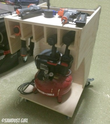 Rolling Air Compressor and Tool Organizing Work Cart