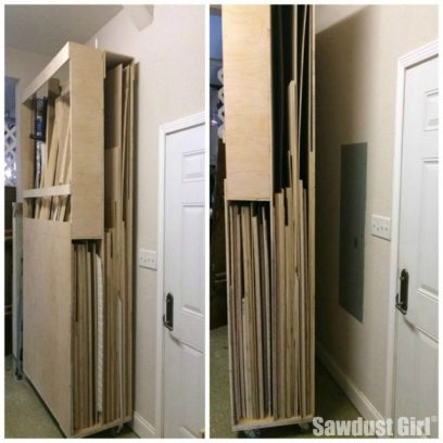 Lumber storage cart on wheels to organize all that scrap wood for awesome projects! Free plans and tutorial from @Sawdust Girl #Storage #Lumber #Wood #Workshop