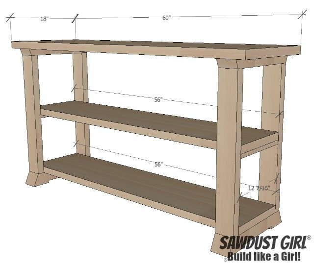 Three Shelf Console Table - Sawdust Girl®