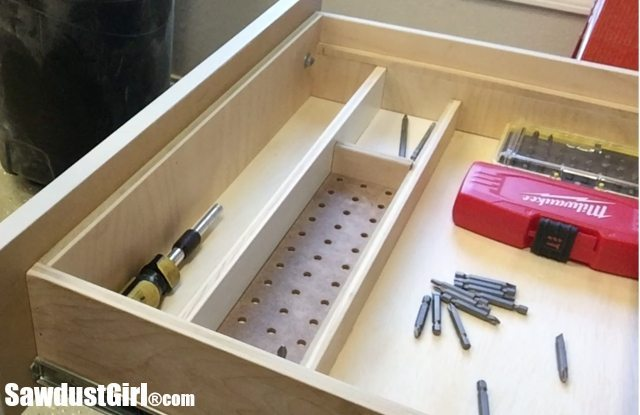 Drawer Organizer for Driver Bits. #storage #organization #workshop