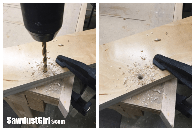 drilling_dowel_hole_for_cabinet_drawer