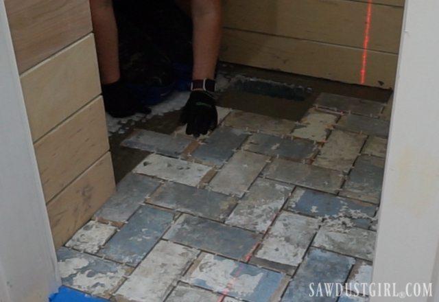 How to install tile flush with hardwood floors sawdust girl for Hardwood floors next to tile
